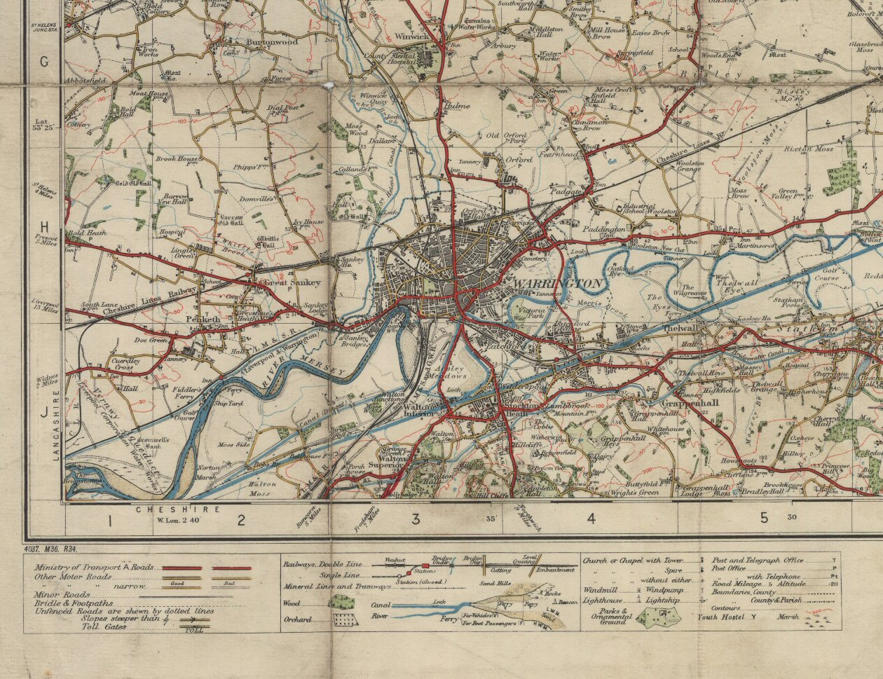 Ordnance Survey Map of Bolton and Manchester in 1924